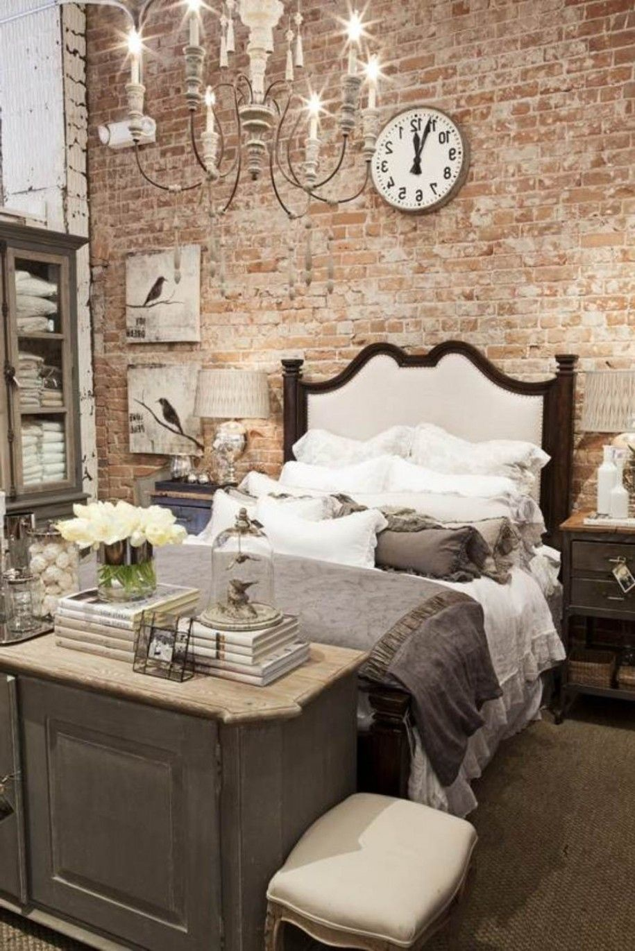 Romantic bedroom decorating ideas bedroom rustic design for Exposed brick wall living room ideas
