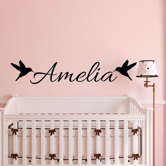 Wall decal name personalized girls name wall decal birds personalized wall decal nursery girls room bedroom wall art home decor approximate item