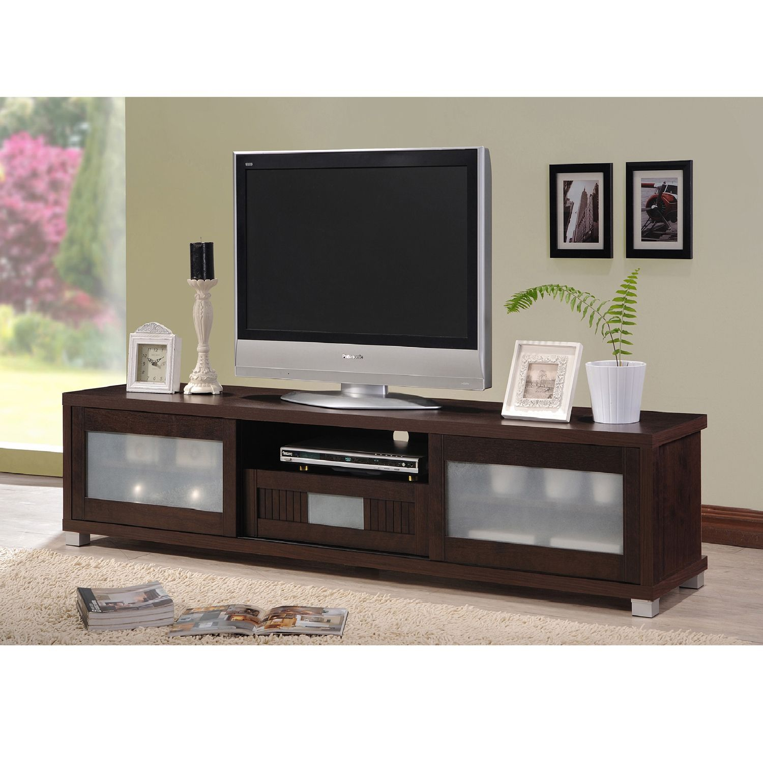 O Baxton Studio Temple Contemporary Dark Brown Wood 70inch TV Cabinet With 2  Sliding Doors And 1 Drawer TV StandWenge Brown