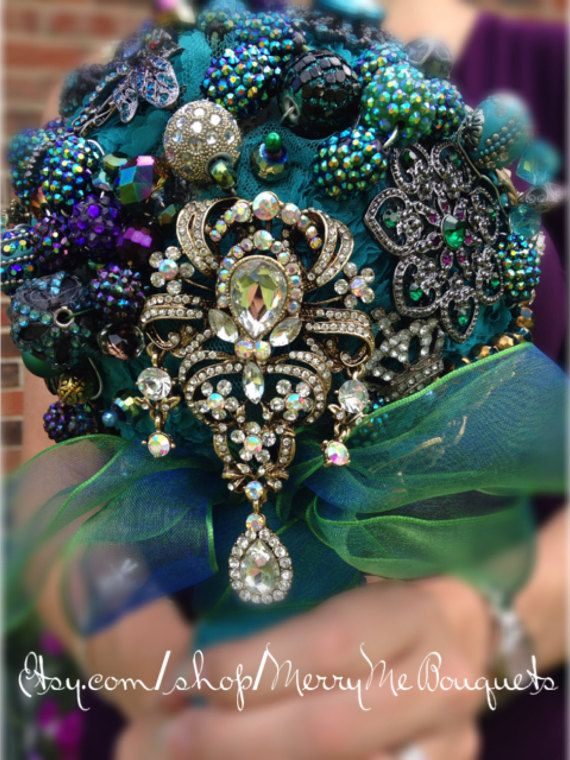 Peacock Keepsake Bouquet  Peacock Brooch Bridal by MerryMeBouquets