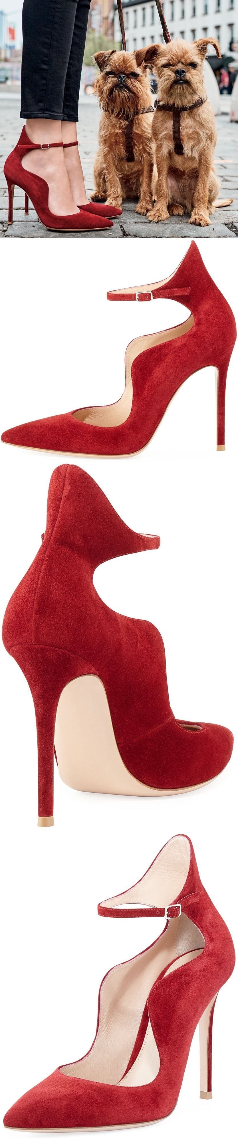 Gianvito Rossi Scalloped Suede Ankle-Wrap Pump 5W1euYq