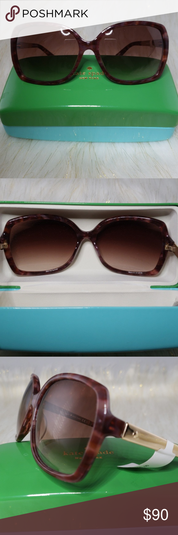 10a6dedd3d Kate Spade Darilynn Sunglasses Hard case and cleaning cloth included. Square  frame. Non-polarized lenses. Imported