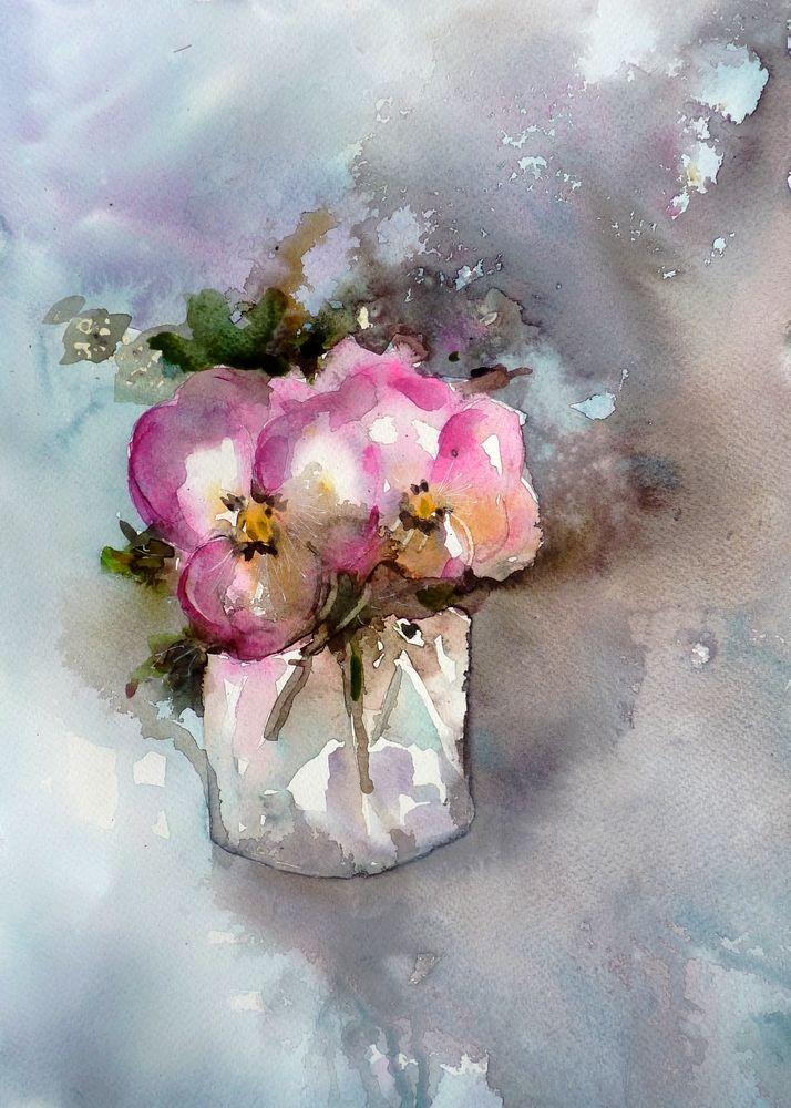 Mes Pensees Perdues Aquarelle Fleurs Fleurs A L Aquarelle