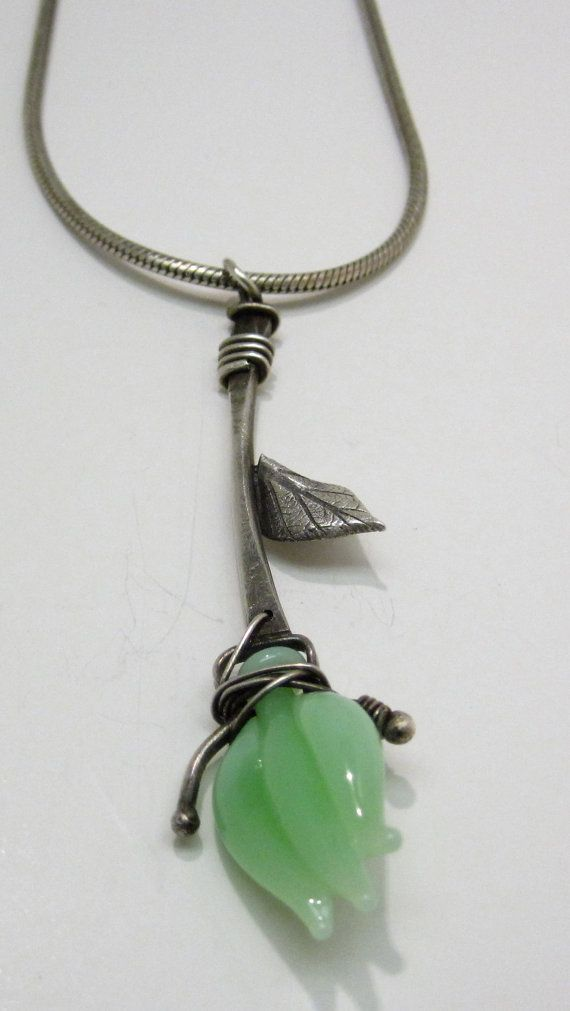 Lamp worked Glass Flower Pendant by rebeccabashara on Etsy, $180.00