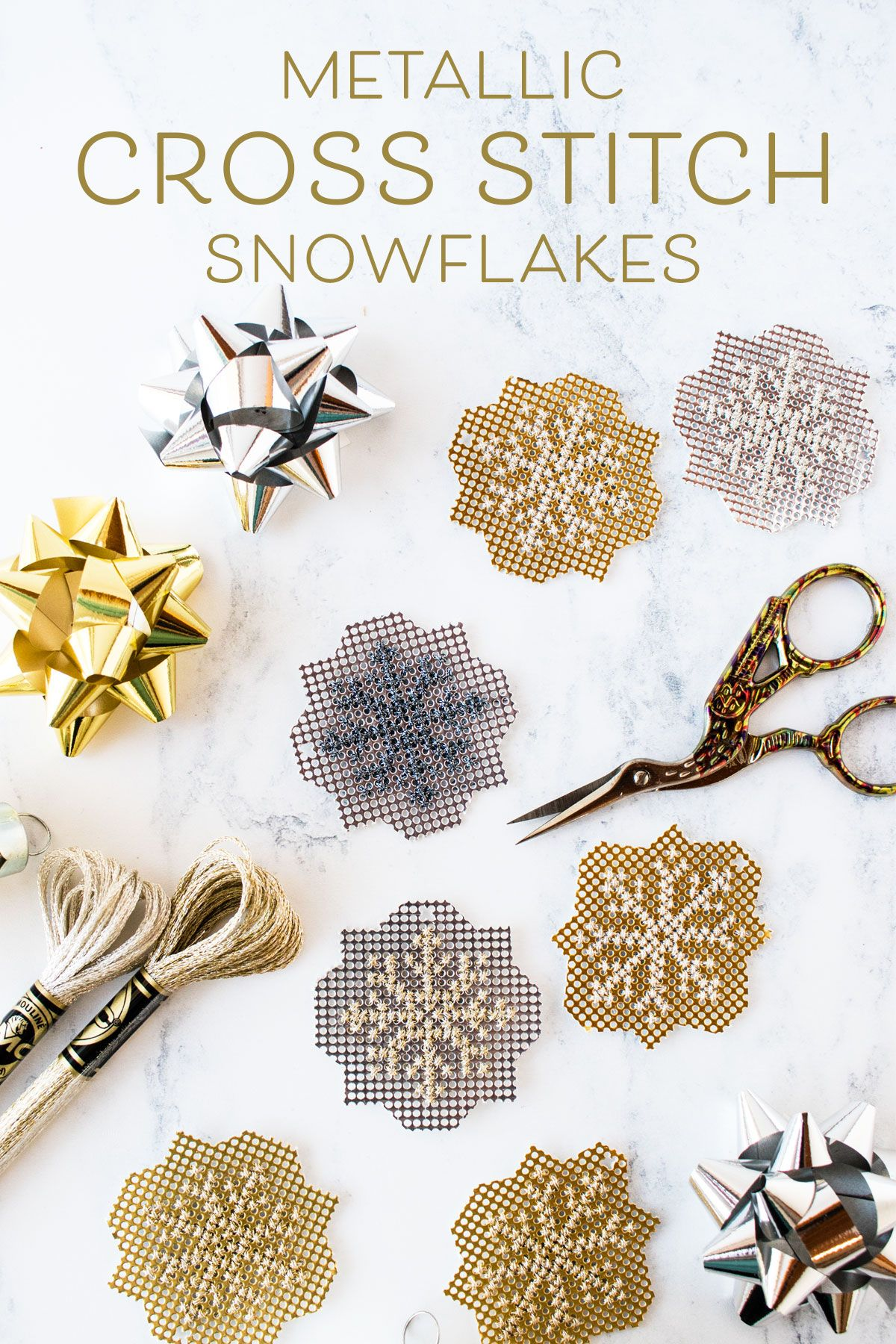 Free pattern: Sparkly metallic cross stitch snowflakes | counted ...