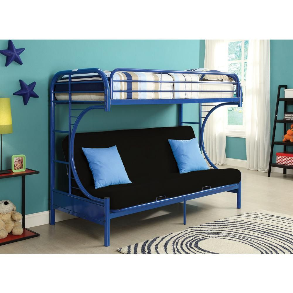 Twin Over Full Metal Futon Bunk Bed In Eclipse Navy Blue
