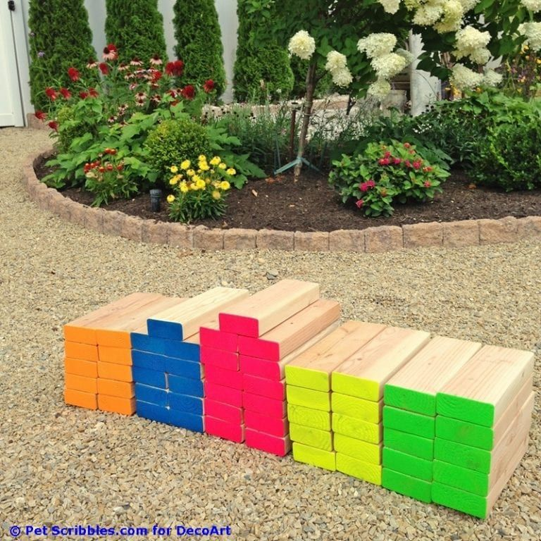 How to make a colorful outdoor giant Jenga game! - Pet Scribbles