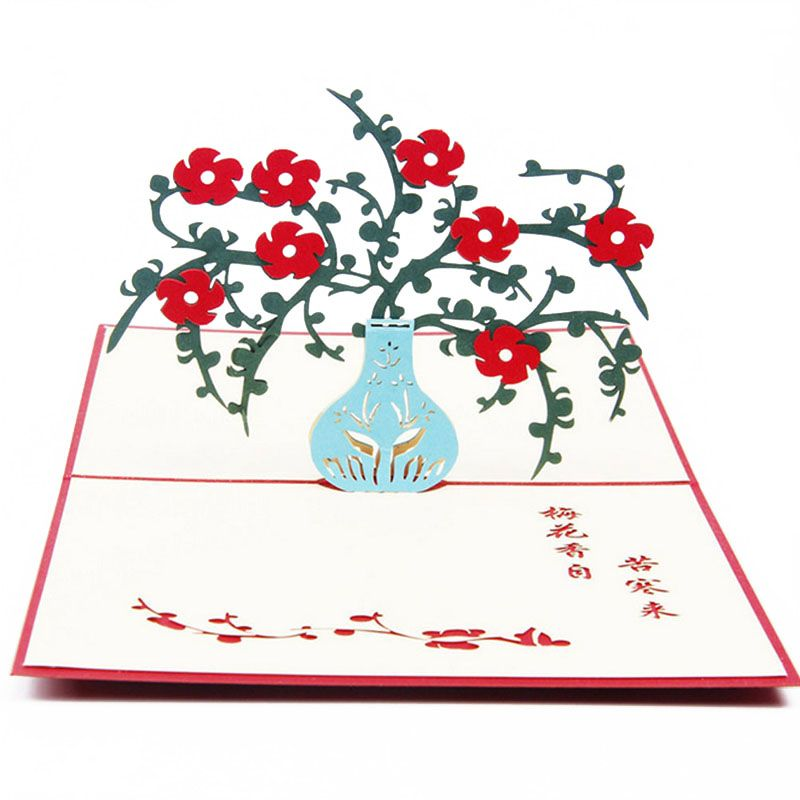 3d pop up card plum flower happy birthday valentine anniversary 3d pop up card plum flower happy birthday valentine anniversary christmas postcard gift new xq drop bookmarktalkfo Image collections