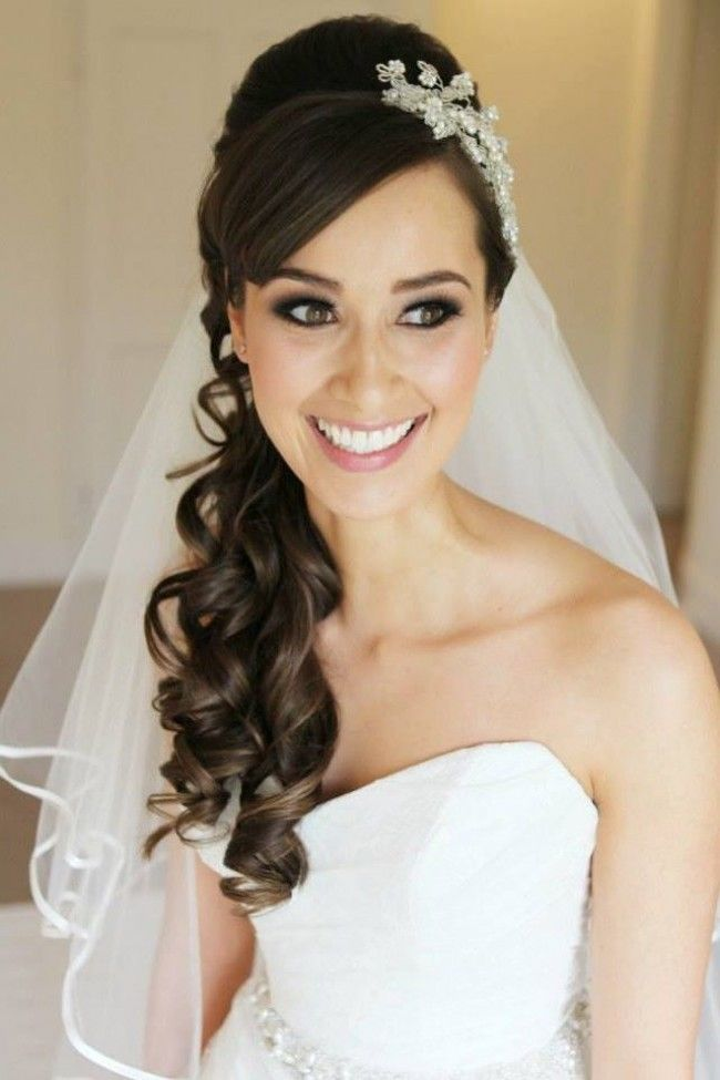 Side Swept Bridal Hair With Veil E1411650680646 Bride Hairstyles