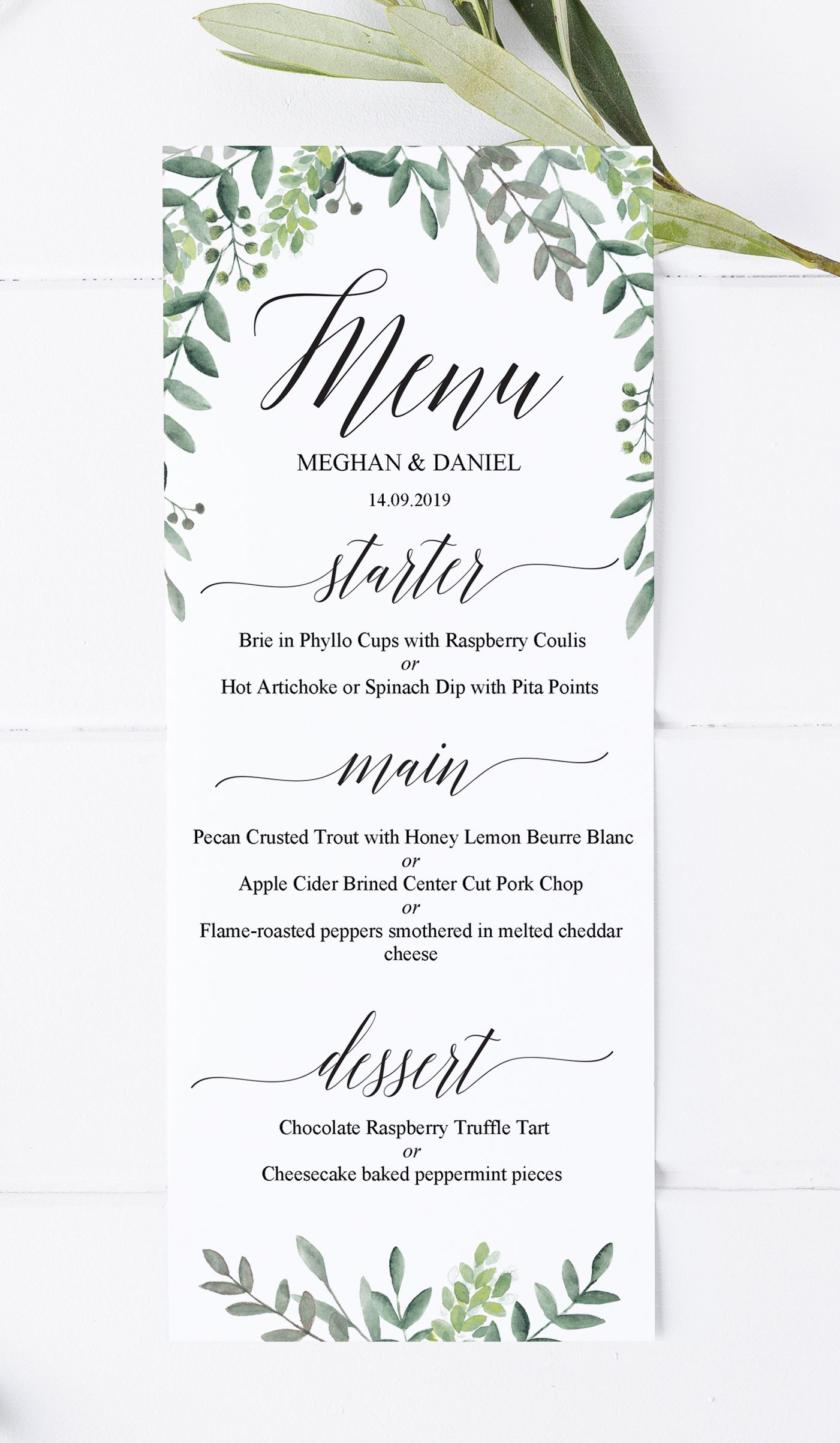 Greenery wedding menu template editable printable wedding