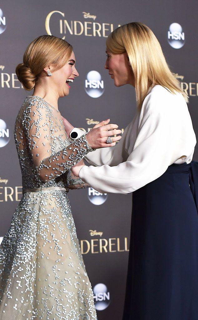 The Cinderella stars reunite at their premiere at the El Capitan Theatre.
