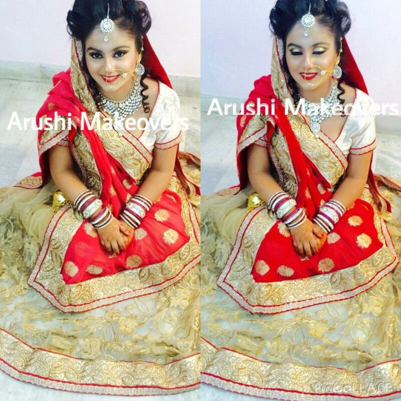Bridal Makeup By Arushi Makeovers Red lehenga,indian wedding,mac cosmetics,red lips,golden smoky eyes.
