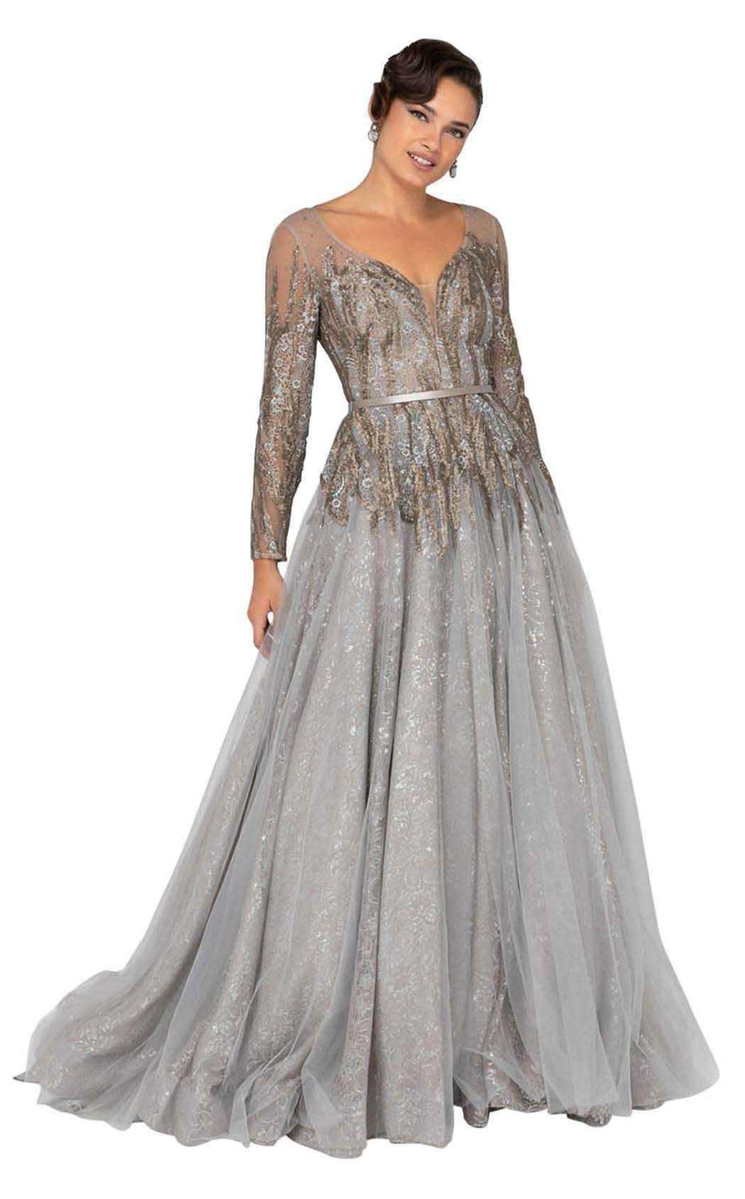 Terani Couture 1913e9234 Embellished Lace Deep V Neck Ballgown Ball Gowns Terani Couture Dresses