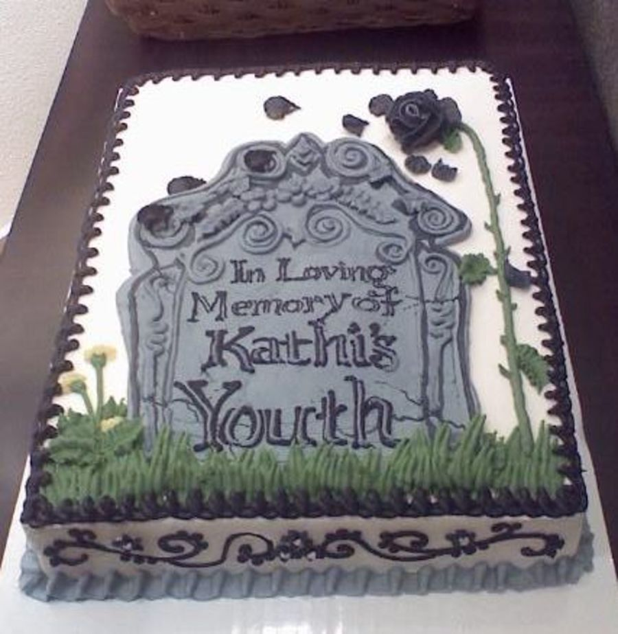 Here lies my over the hill cake with images over the