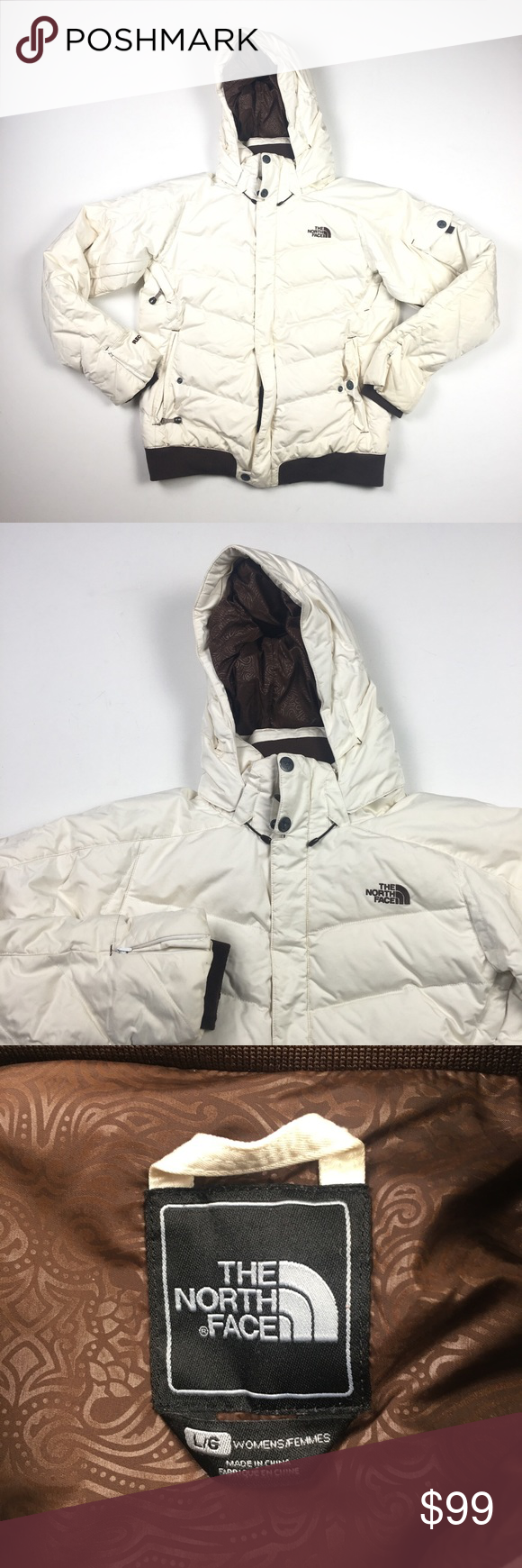 North Face Womens Cream Brown Down Jacket L C5513 North Face Women Clothes Design Down Jacket [ 1740 x 580 Pixel ]