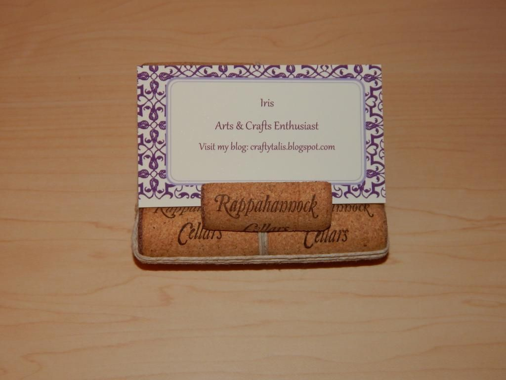 Business card holder made out cork and hemp string #whimsytouches ...