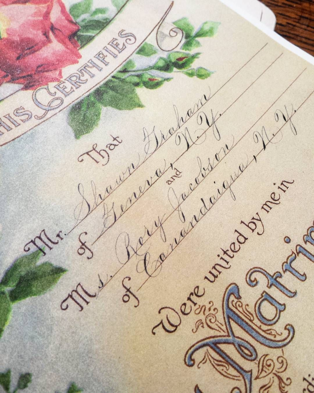 Flowercityletters Calligraphy Marriage Certificate Rochestet Ny