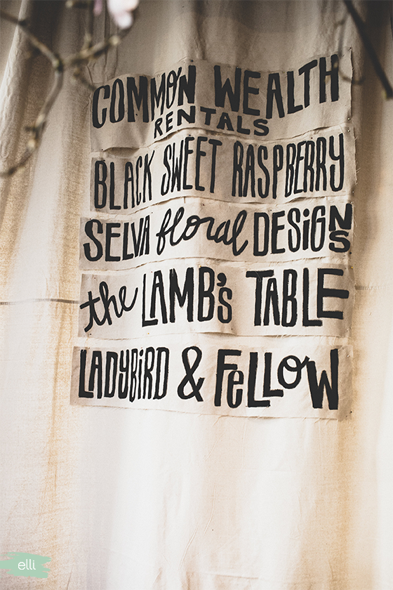 Lettering on fabric.
