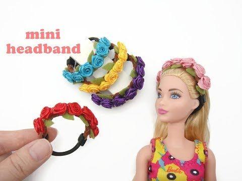 DIY Miniature Doll Mini Headband - Floral Roses Headband - YouTube #dollaccessories