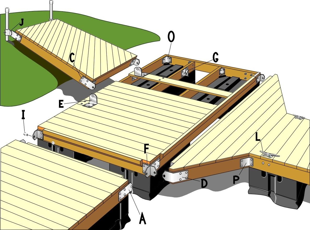 Floating dock plans ideas how to attached two decks for Floating platform deck