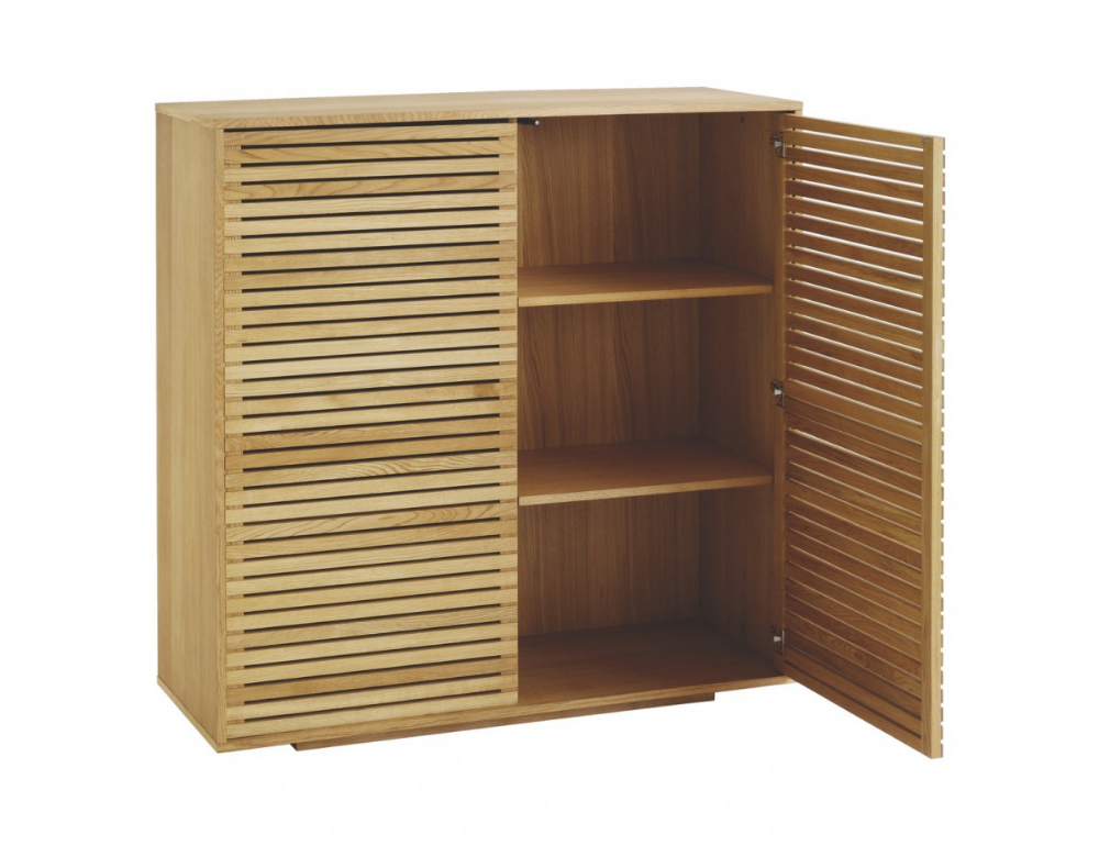 Max Oiled Solid Oak 2 Door Cupboard With Slatted Doors With Images Cupboard Oak Sideboard Dining Storage
