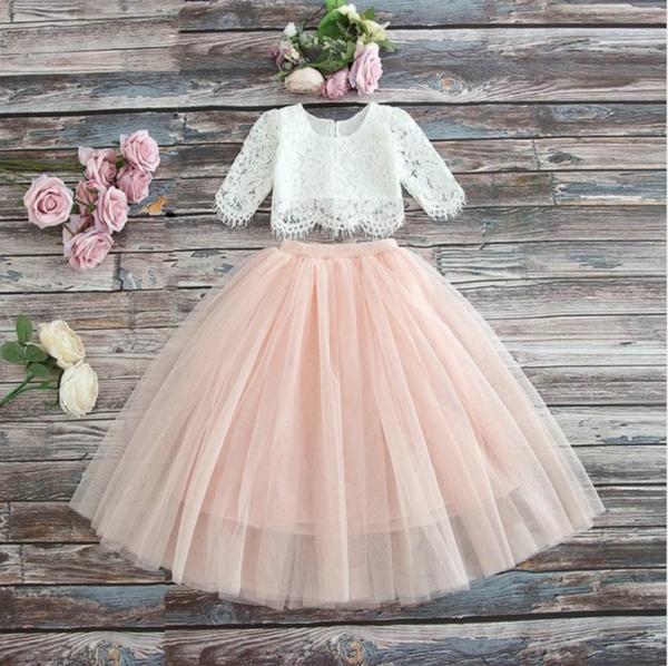 Little Girls Long Sleeve Ruffle Top Blouse Floral Skirt 3 PCS Clothing Dress Set