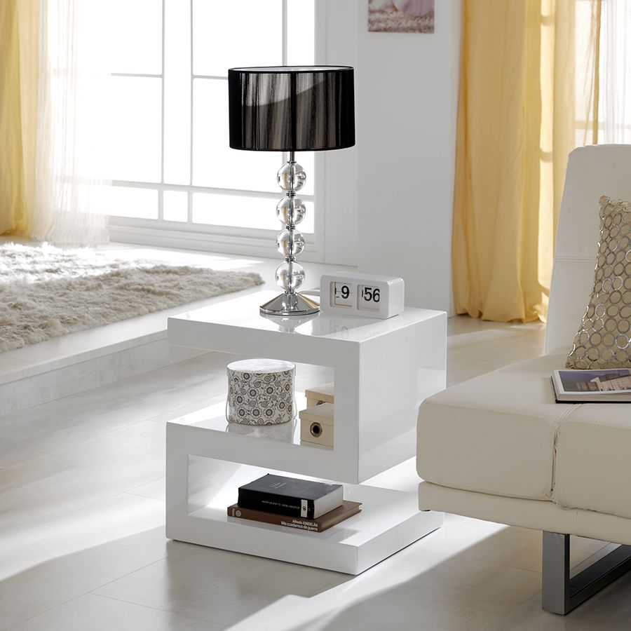 Table Basse Blanc Laqu Design Abigail D Co Int Rieure  # Meuble Avec Cheminee En Blanc Laque