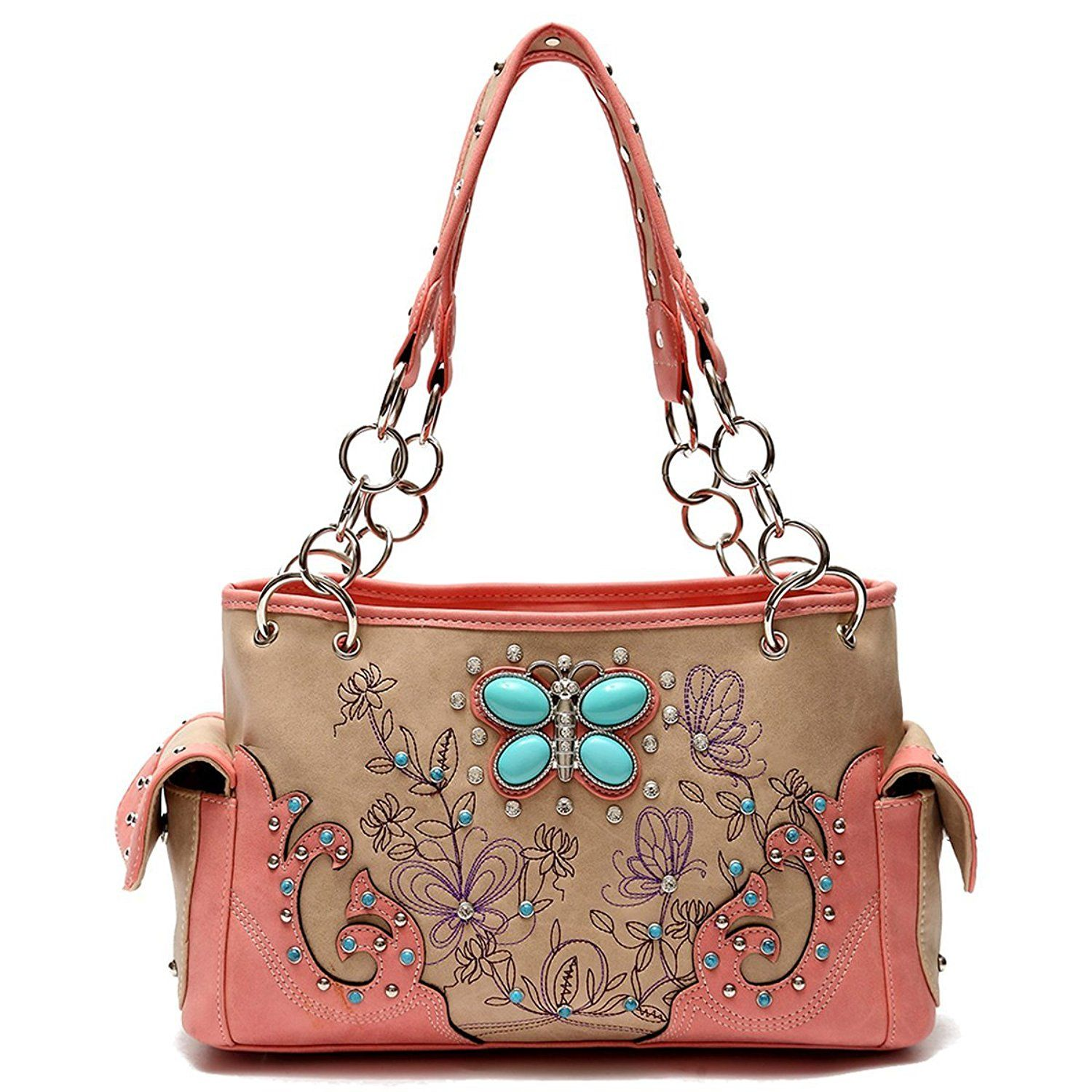 1965e7ed13 Cowgirl Trendy Coral Western Butterfly Concealed Carry Purse Handbag ...
