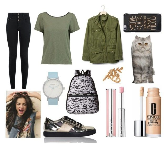 """""""Georga from ANGUS,THONGS AND PERFECT SNOGGING"""" by hailey-smith-13 ❤ liked on Polyvore featuring Armani Jeans, New Look, Alice + Olivia, Clinique, The Horse, Gap, Givenchy, Allurez and LeSportsac"""
