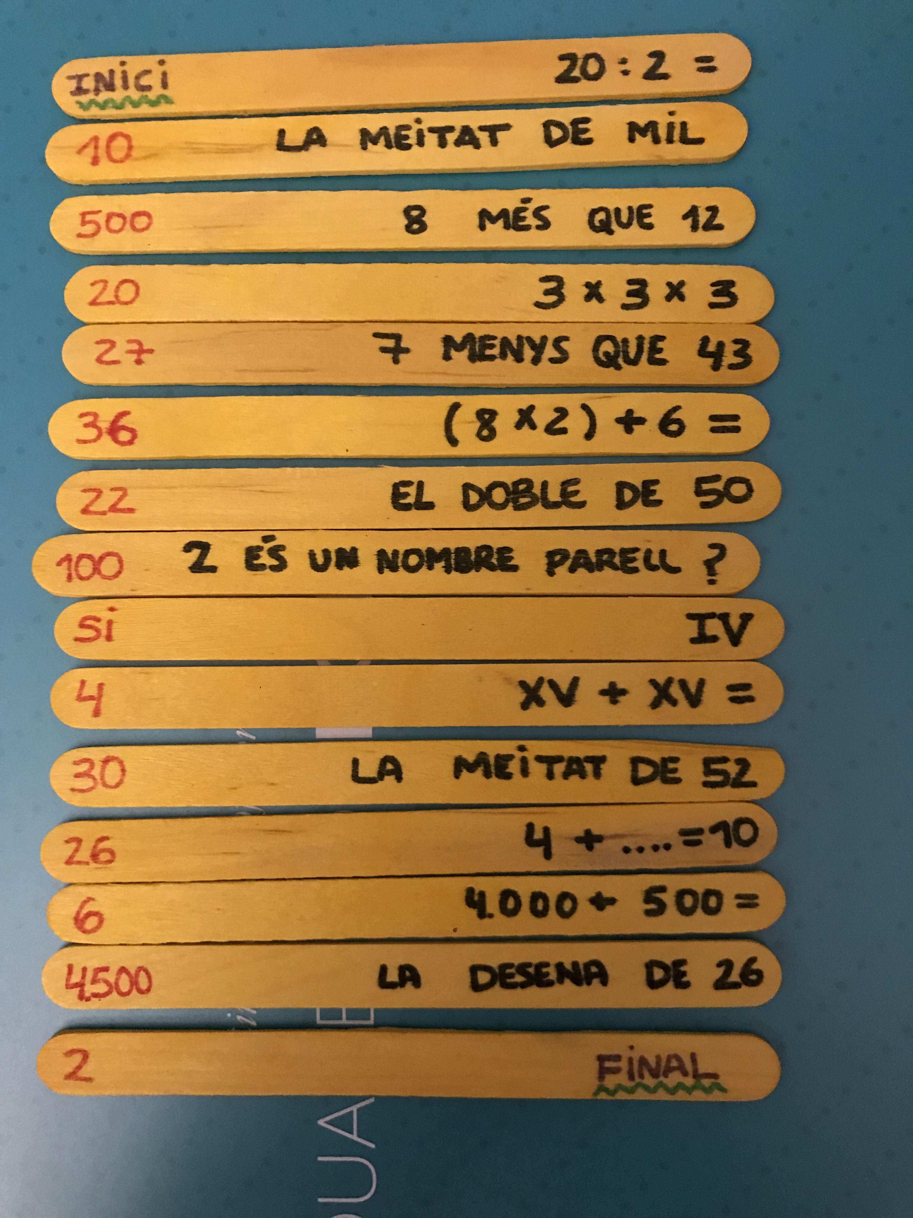 Juego de cálculo mental palos de madera para primaria