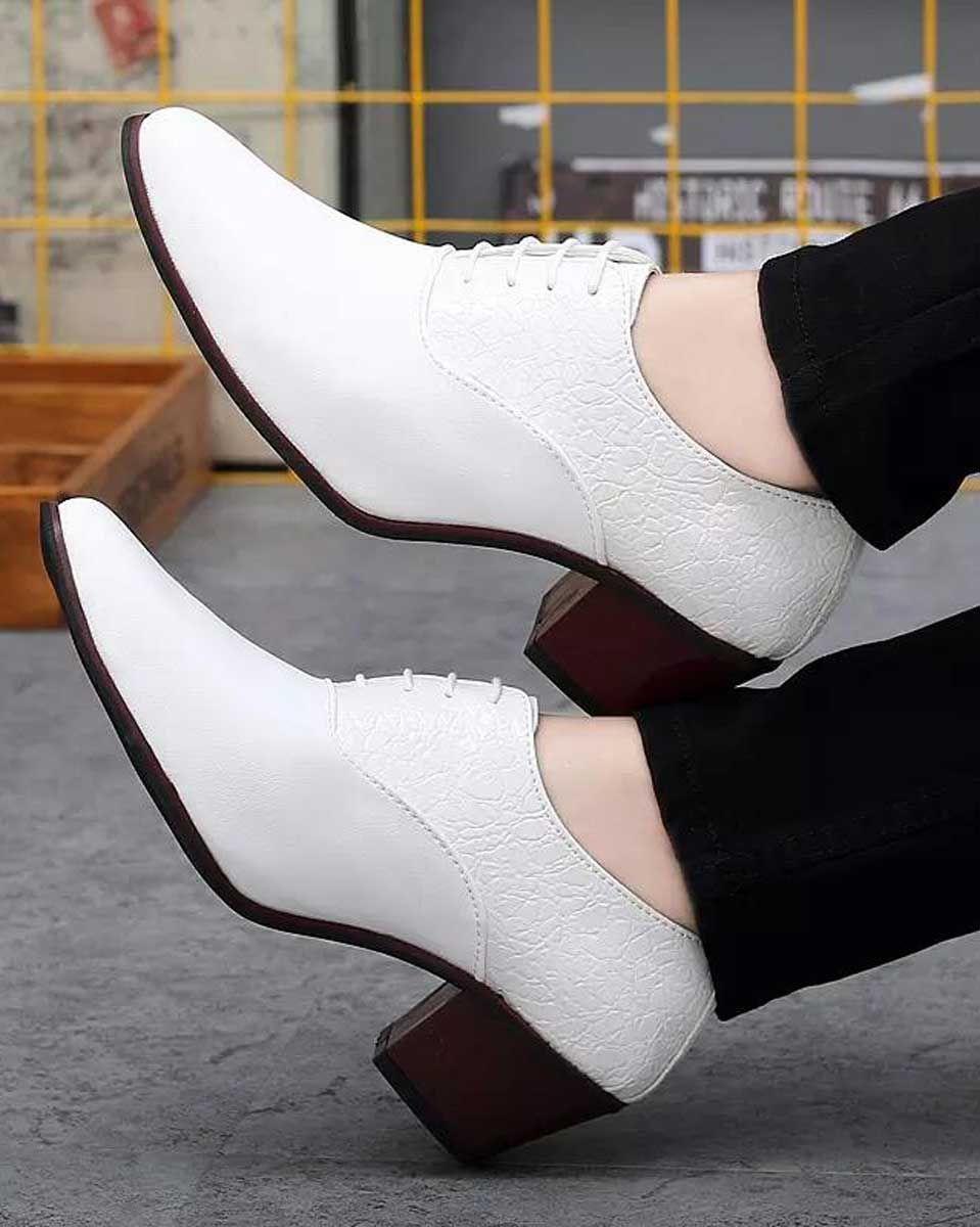 White Leather Oxford Dress Shoe Croco Skin Pattern Leather Oxfords Dress Shoes Men Oxford Dress Shoe [ 1200 x 959 Pixel ]