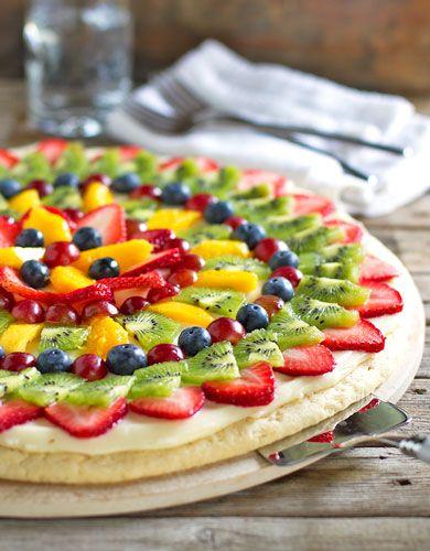 Fruit pizza. sugar cookie meets fruit.