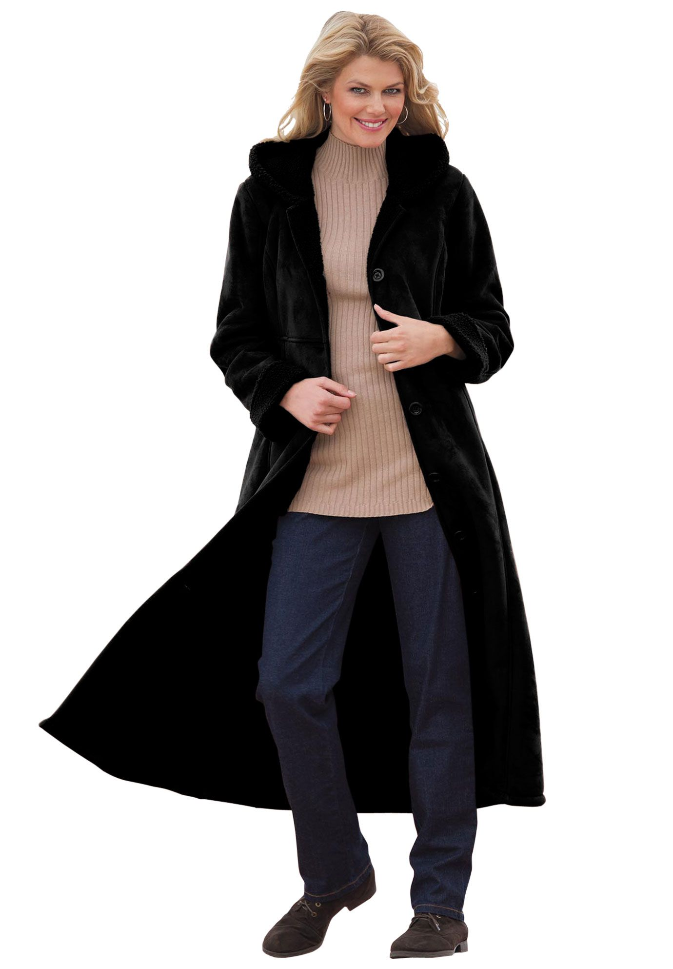 ecf52303a46 My new winter coat. Plus Size Long hooded coat in faux-shearling ...