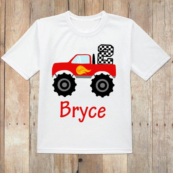 be1f4874e Monster truck birthday shirt, monster machine birthday shirt, red monster  truck birthday shirt, personalized monster truck shirt, red truck