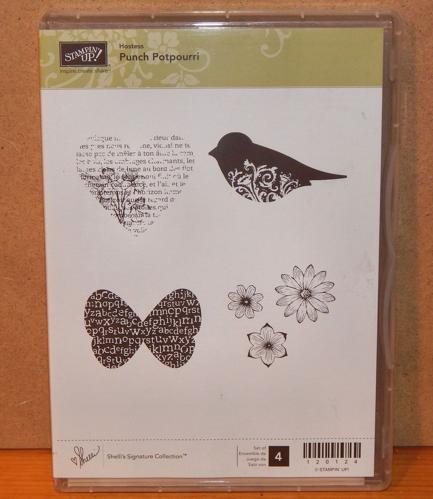 Stampin Up Clear Mount Rubber Stamp Set Titled Punch Potpourri Pictured Above This Is A Retired Hostess 4 Piece Set In Origina Stamp Set Stampin Up Stamp