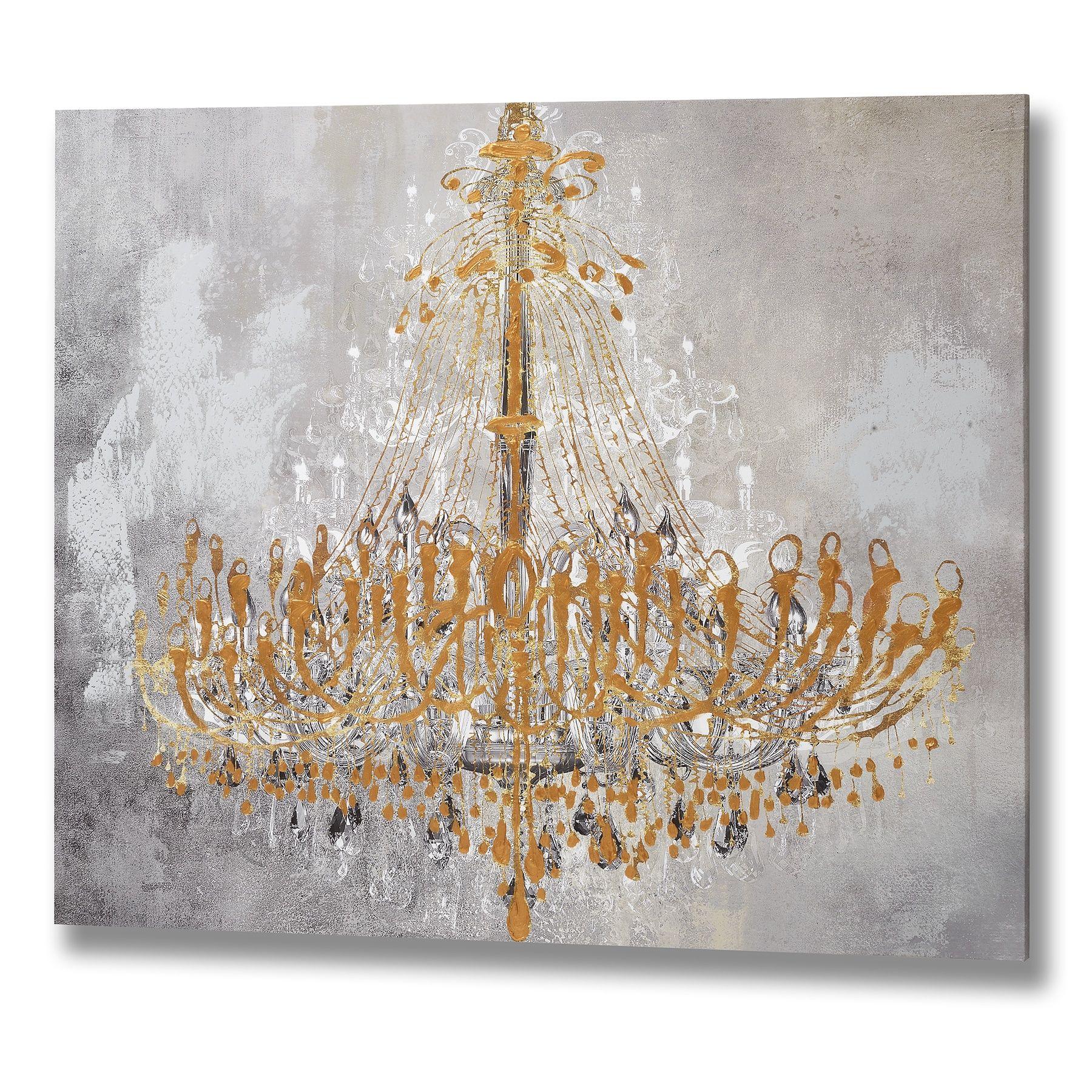 Golden Chandelier Handpainted Canvas