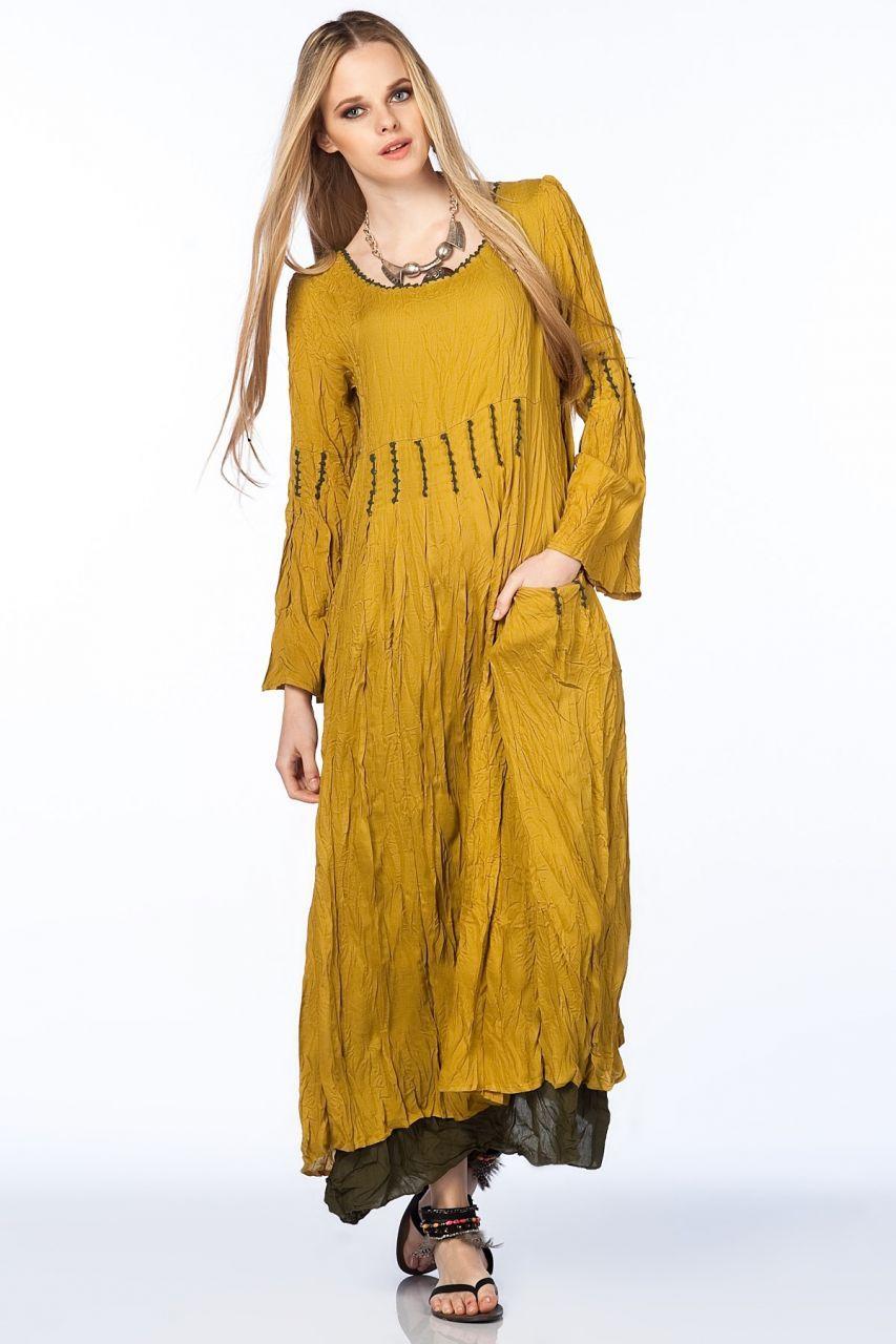 Otantik Milas Elbise Safran The Dress Bohem Elbiseler Elbise