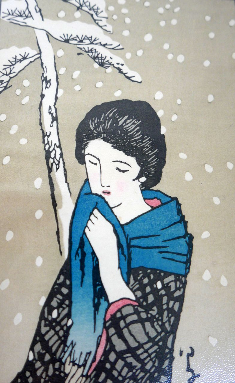 Detail: a beautiful version of Takehisa Yumeji's Snowy Day by Master wood engraver/printer Motoharu Asaka. It lives in the relief print room. Many thanks to Louise Rouse for arranging his visit and her talk on Japanese Printmaking. For those who missed his visit, his website is takumihanga.com  (thank you Julie for the photo).