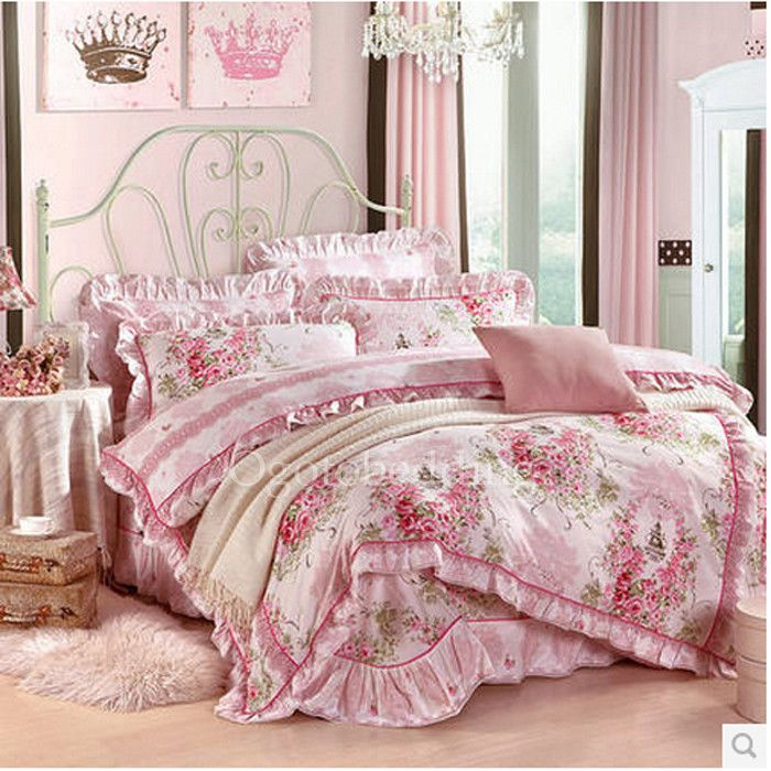 pink floral romantic country cheap comforter sets for girls obd081644