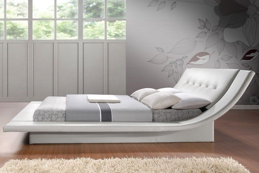 Calyx White Modern Bed With Curved Headboard This King Queen Sized Platform Bed Requires Only A Mattress The Slats Includ Modern Bed Bed Furniture Curved Bed