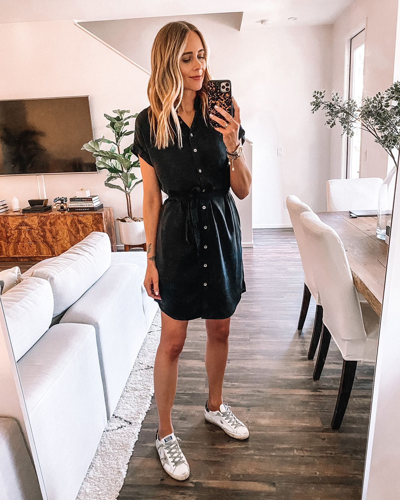 Fashion Jackson Wearing Amazon Daily Ritual Black Shirtdress Golden Goose Sneakers Fashion Jackson Black Dress Outfit Casual Black Shirt Dress [ 1600 x 1280 Pixel ]