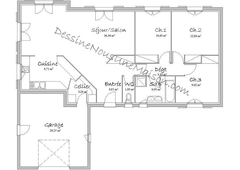 Résultat De Recherche Dimages Pour Plan Maison Chambres Plain - Plan maison plain pied 90m2