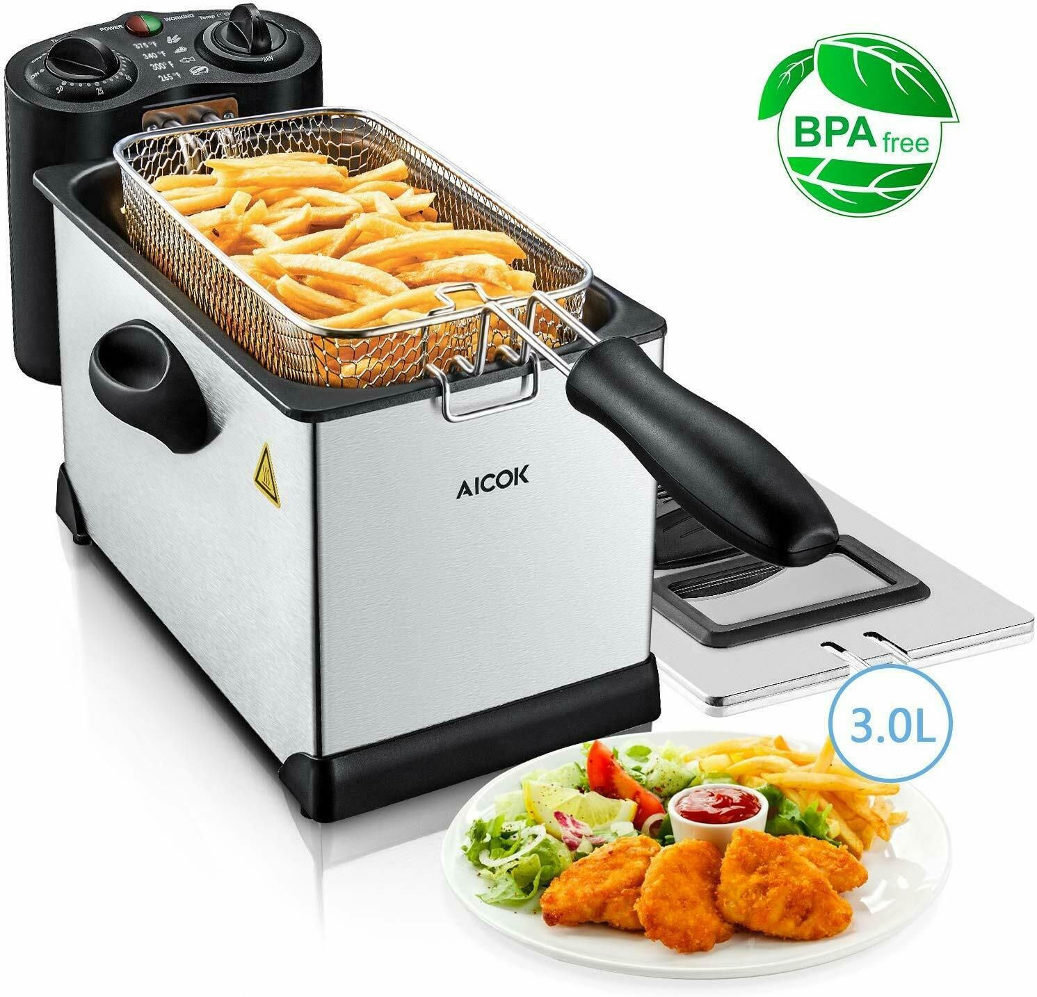 Deep Fryer with Basket Aicok Stainless Steel Electric Oil