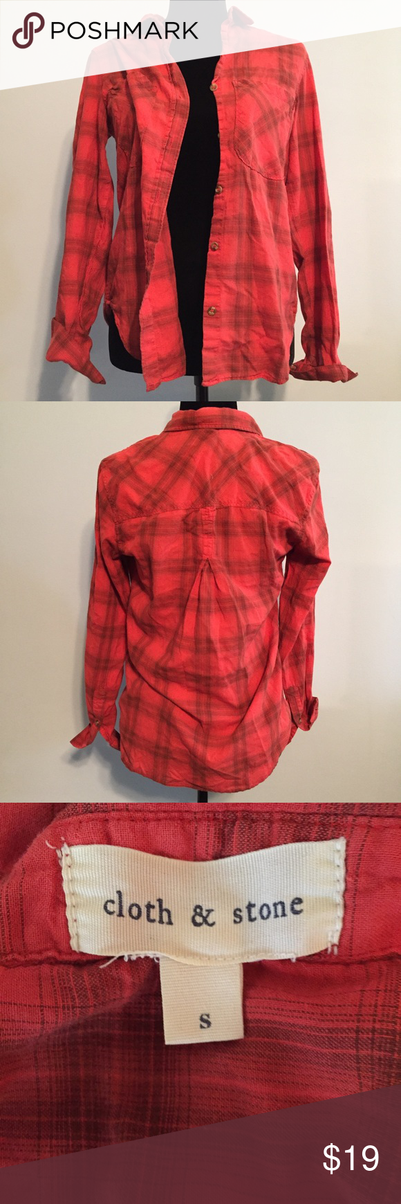 Orange flannel jacket  Anthropologie Cloth u Stone S RedOrange Flannel  Plaid pattern