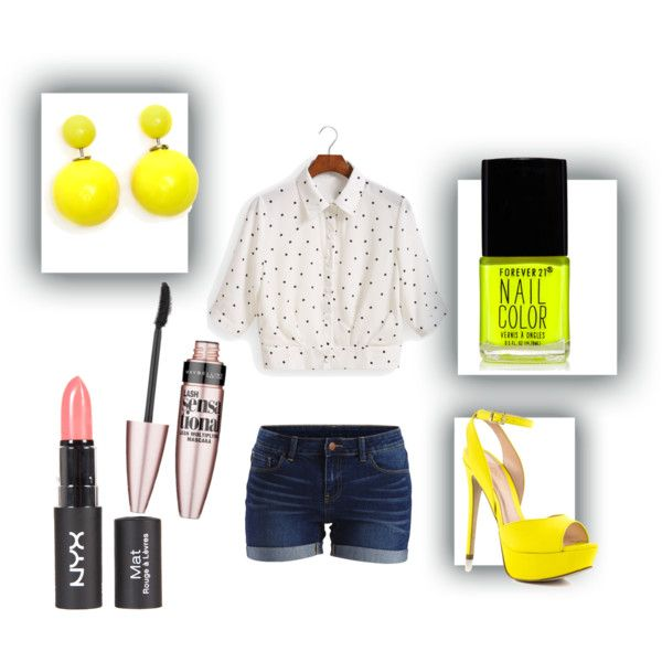 Yellllow! by sgrobertson on Polyvore featuring polyvore fashion style VILA ALDO ELLA Maybelline Forever 21