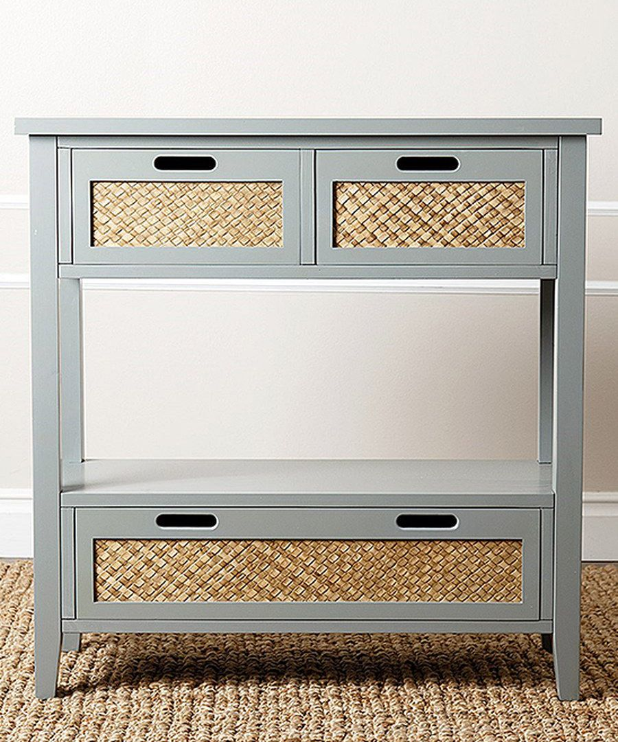Look at this blue wood u wicker console table on zulily today