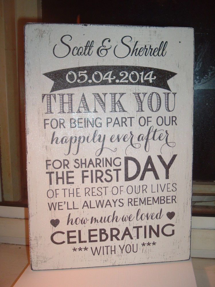 Shabby Mod N Chic Personalised Thank You Wedding Plaque Sign New Design