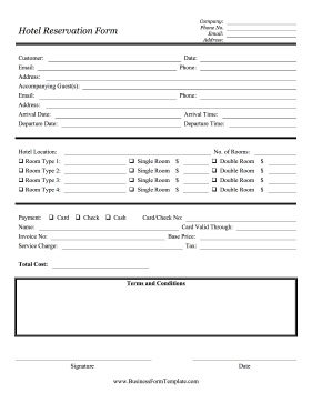 Hotels Inns And Motels Can Use This Printable Reservation Form