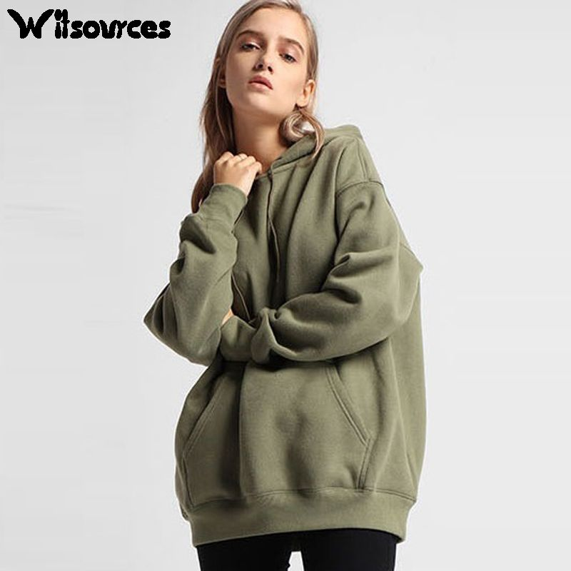 Witsources women oversize hoodies autumn new fashion fleece thick ...