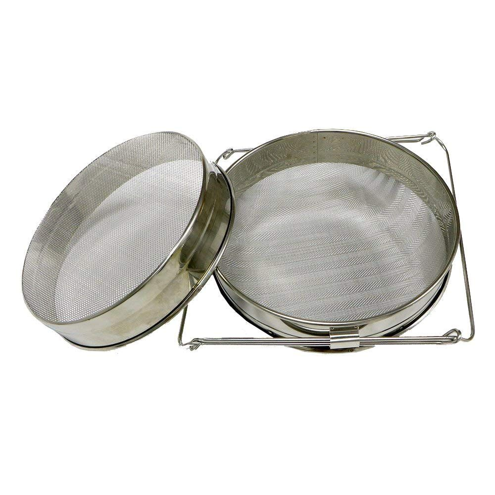 Stainless Steel Double Sieve Honey Strainer Filter Screen Beekeeping Equipment